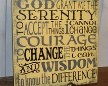 Serenity Prayer Sign/Inspirational/Subway Style/Courage/Wisdom/Earth Tones/Wood Sign/ Home Decor/ Hand painted/Yellow/Black/Gray/Office