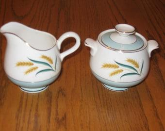 Vintage International China Aqua Gold Wheat Creamer Lidded Sugar Bowl Set