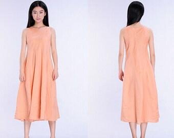 cotton linen long vest dress maxi dress