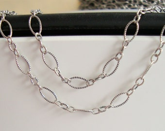 "Lightly Oxidized Sterling Silver Marquise Oval 3 plus 1 Cable Designer Chain, 20"", 5x3mm, not finish"