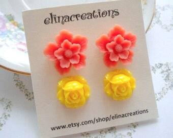 Flower Earrings Gift For Girl Orange Stud Earrings Yellow Post Earrings Colorful Earrings Orange Post Earrings Yellow Stud Earrings