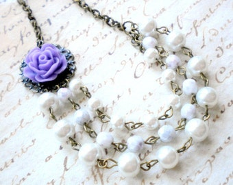 Purple Necklace Flower Necklace Pearl Statement Necklace Rose Wedding Jewelry Purple Bridesmaid Necklace Lavender Necklace