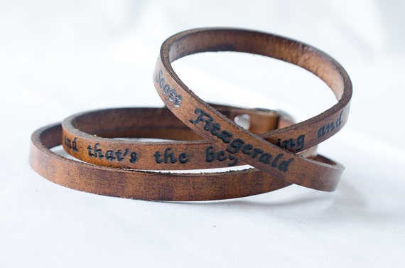 I Love Her- F. Scott Fitzgerald Ultra Long Custom Quote Leather Wrap Bracelet