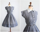 RESERVED...Vintage 1950s Dress : 50s Grey Speckled Shirtwaist Dress