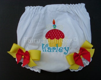 Custom Bloomers..CUPCAKE BLOOMERS yellow and red,...cup cake...diaper cover..dress up..birthday bloomers, first birthday,party, princess