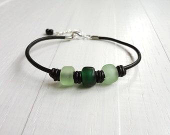 Green beads bracelet black leather bracelet glass pony beads boho cuff bracelet