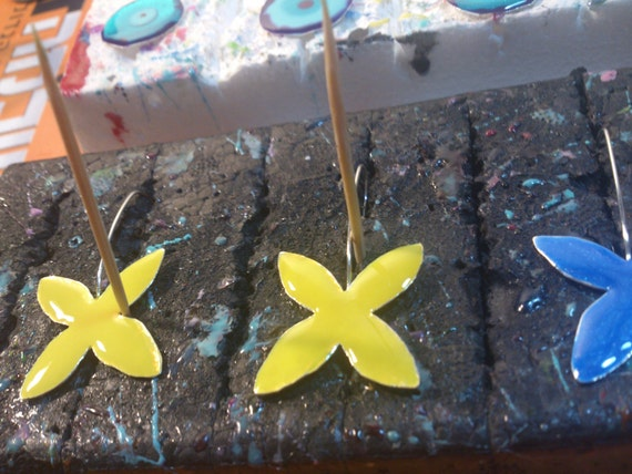 Reserved for RIGATO ANNA  yellow Earrings Flower Resin and Sterling Silver-Four Petal