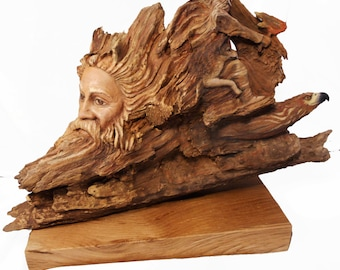 Path of Fire Wolf Hawk and Old Man Original Rick Cain Wood Sculpture 2014