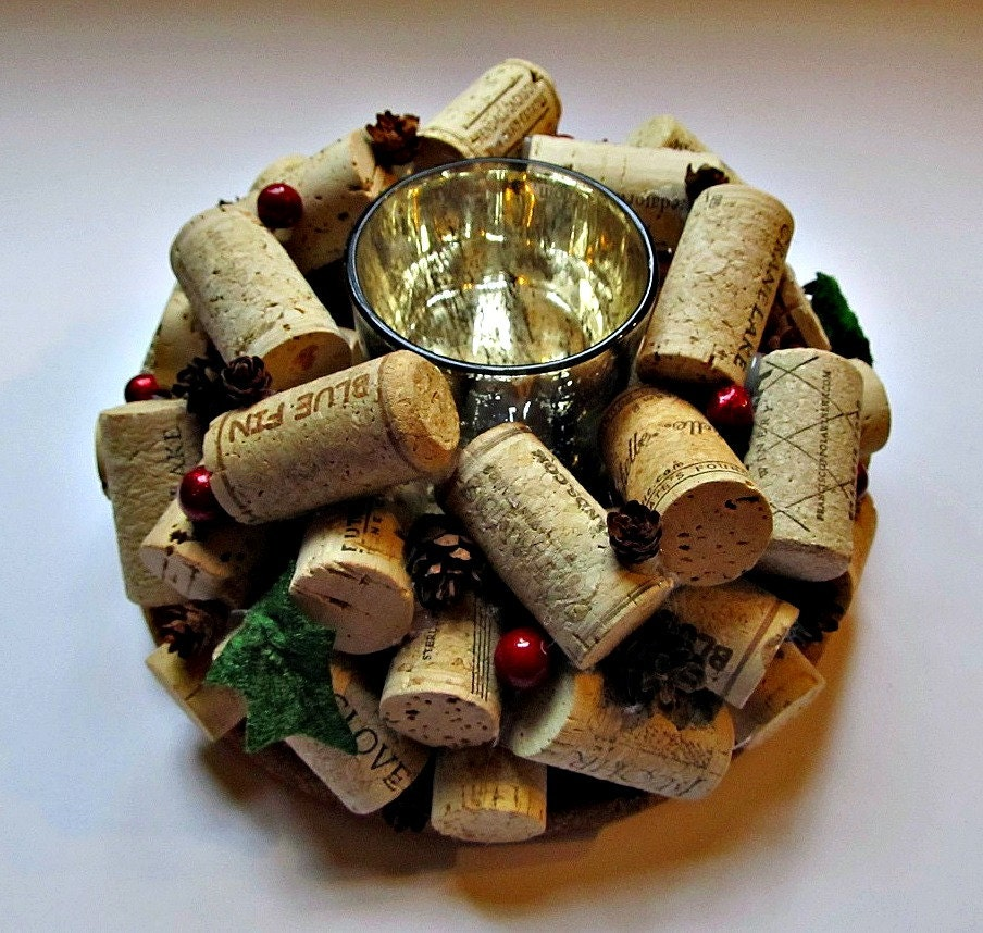 Wine Cork Candle Holder Christmas Holiday Decor Table