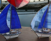 Periwinkle and Dark Streaky Blue Medium Stained Glass Sloop with Spinnaker