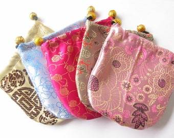"5 Satin and Brocade Drawstring Gift Pouches with Gold Beads 4""x4"""