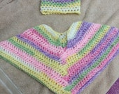 Infant Baby girls poncho and beanie set   Multiple pastel colors