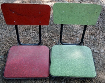 Antique Vintage Lot Of Two Vintage 1950s Folding Chairs For Boats  (50 % OFF APPLIED)