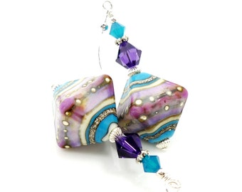 Purple & Blue Earrings, Lampwork Earrings, Glass Earrings, Glass Bead Earrings, Beadwork Earrings, Lampwork Jewelry, Unique Earrings