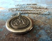 Custom Wax Seal Letter Monogram Necklace. Fine Silver Monogram. Personalized Initial Sterling Chain Wax Seal Jewelry