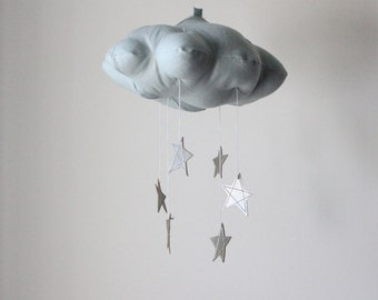Silver Star Blue Cloud Mobile- modern fabric sculpture for nursery decor in linen and metallic faux leather- Free US Shipping