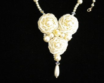 Beaded Rose Heart Necklace
