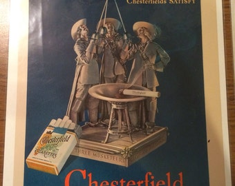 1937 Chesterfield a Three Musketeers cigarettes print ad graphics
