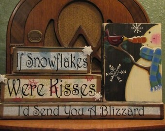 Winter Decor, WInter Decoration, Winter Sign, Snowman Sign, Christmas Decor, Word Blocks, If Snowflakes Were Kisses, I'd Send You A Blizzard