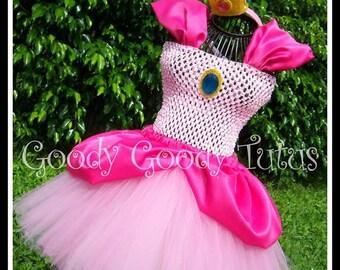 JUST PEACHY Princess Peach Tutu Dress and Crown - Large 4-6T