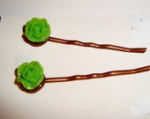 SALE 5 Dollars -Green Flowers for Spring Hair Bobbies - Spring Fashion Hair Accessories - Hold Your Hair Back - Hair Accessories