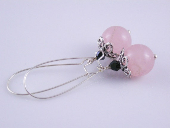 Pink Opaque Crackled Agate with Black Crystal Bicones and Antiqued Silver Swirl Bead Cap Earrings on Silver Kidney Wires