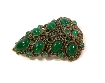40's Large Vintage Art Deco Green Stone Fur or Dress Clip