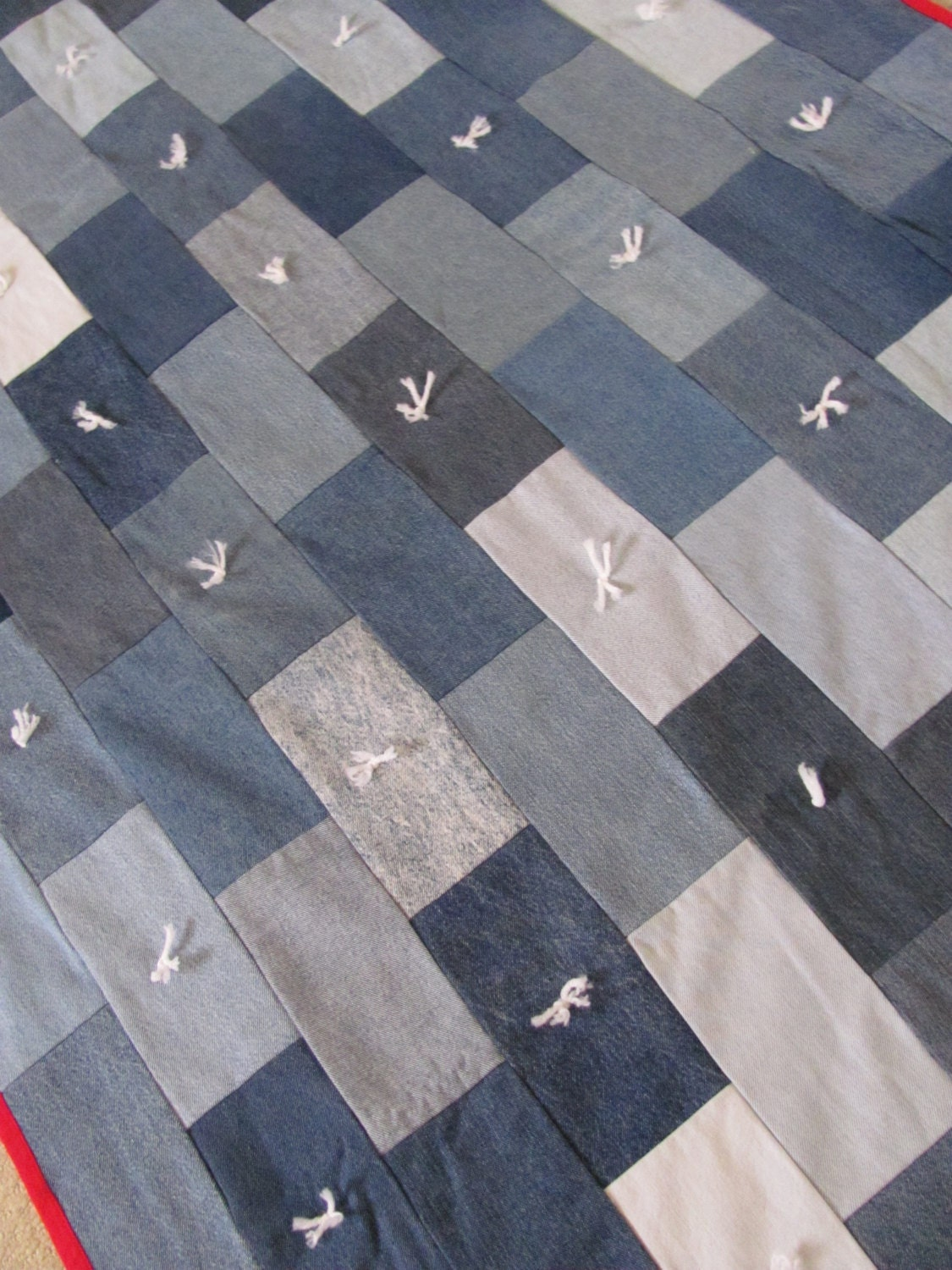 45 X 60 Quilt Throw Blanket Christmas Recycled Denim