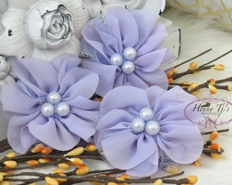 NEW: 4 pcs Lavinia LAVENDER Soft Chiffon and Tulle w/ pearls Ruffled Fabric Flowers, Hair accessories. Headband Flowers. Scrapbooking.