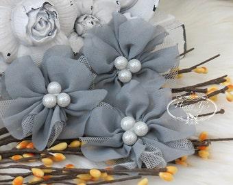 NEW: 4 pcs Lavinia MEDIUM GREY Soft Chiffon and Tulle w/ pearls Ruffled Fabric Flowers, Hair accessories. Headband Flowers. Scrapbooking.