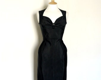 Black Grosgrain Bustier Wiggle Dress - Made by Dig For Victory