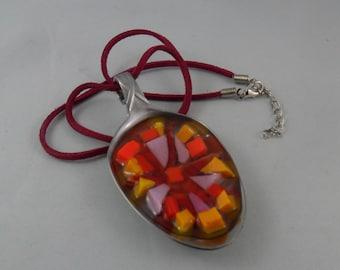 mosaic pendant - mosaic gift - mosaic lover gift - mosaic jewelry - glass art gift - glass lover gift - colorful gift