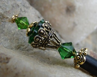 Swarovski Dark Moss Green Hair Stick with Gold Plate Accents Crystal Hairpin Green Hairstick Hair Jewels - Carey