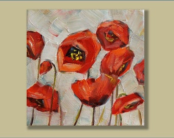 Original Oil Painting- Poppies- Modern, Contemporary 8x8