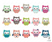 Cute Owl Clip art Set 2 - 15 Digital Clipart Set for Scrapbooking - BUY 1 GET 1 FREE