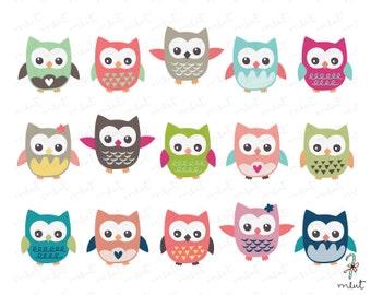 50% OFF SALE Cute Owl Clip art Set 2 - 15 Digital Clipart Set for Scrapbooking