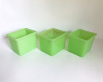 Set of 3 Mid Century 1940's Jadetie Jadite Thick Green Glass Refrigerator Jars