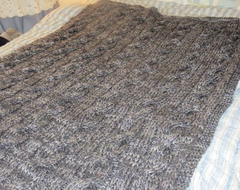 Charcoal and Dove Grey (Gray) Cable Afghan