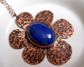 Textured Copper Flower and Dark Blue Lapis Stone Pendant, Oxidized Metals, Nature Jewelry