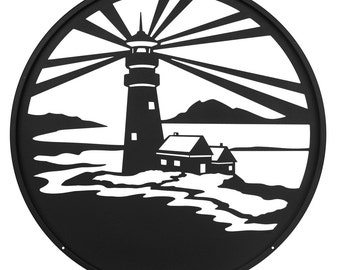 Hand Made Lighthouse Nautical Scenic Art Wall Design *NEW*