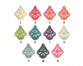 Parisian Pearl Collection Shimmer Glitz Set of 2 German Filigree Floral Pendant Resin for Earrings or Necklace 58mm x 48mm 11 Color Options