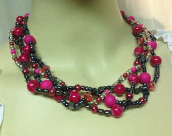 Beaded Necklace - 4 Strand in Pink and Black