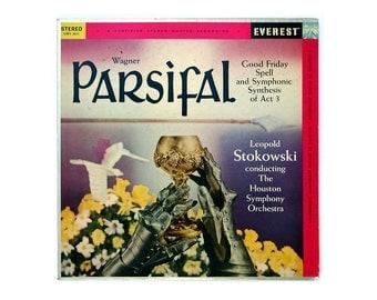"""Alex Steinweiss (attr.) record album design, 1959. Leopold Stokowski """"Wagner: Parsifal"""" LP"""