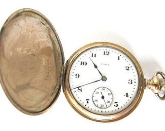 Antique 10K Goldfilled Elgin Pocket Watch Hunter Case,S16,7J, Run