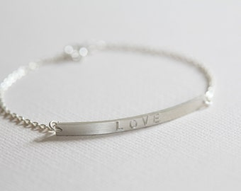 silver bar bracelet, stackable bracelet, name bracelet, dainty bracelet - sterling silver