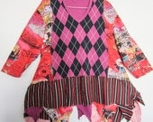 Argyle Ziggy hem funky tee tunic fits sizes thru 3x