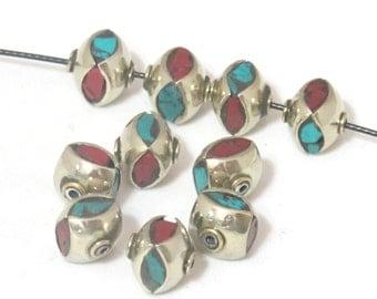 2 Beads - Nepal beads turquoise coral inlay - tibetan beads supplies -  BD474