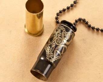 "Time capsule necklace - ""Steampunk Heart"" etched bullet casing pendant - bullet jewelry"