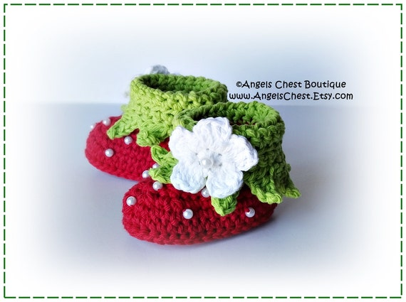 PDF Crochet Pattern No. 65 Baby Booties Strawberry Cuffed