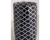 Wastebasket car trash can collapsible use anywhere crafting thread catcher laminated cotton waterproof WASTIE black and white mosaics
